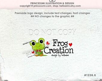 1236-6 frog logo, Custom Premade Logo Design - sketch hand drawn little frog logo photography