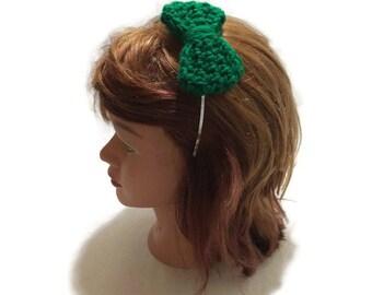 Green Bow Headband Crochet Bow Metal Headband Green Bow Hair Accessory Kawaii Bow Headband Green Bow Crochet Bow Headband