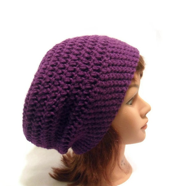 Purple Tam Hat, Purple Dreadlock Hat, Slouchy Purple Hat, Purple Tam, Dreadlock Beanie, Slouchy Tam, Purple Winter Hat, Purple Festival Hat