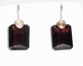 26 cts Natural Octagon Smokey Quartz gemstones, 14kt yellow gold Pierced Earrings