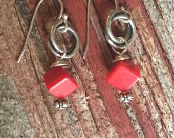 Handmade Earrings Red Coral Gemstone