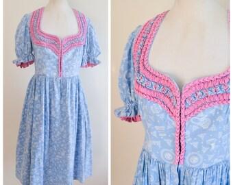 1940s Blue & pink novelty print dirndl dress / 40s printed cotton day dress - M