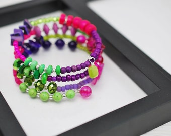 Mardi Gras Bracelet, Wrap Bracelet, Memory Wire Bracelet, Beaded Bracelet, Boho Bracelet, Beaded Wrap Bracelet, Pink Bracelet, Lime Green