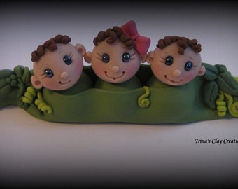 Baby Shower Cake Topper, Custom Cake Topper, Three Peas in a Pod, Polymer Clay, Keepsake