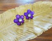Flower Stud Earrings. Small Post Back. Purple Flower Amethyst Color Violet. Rhinestone Acrylic. Girls Jewelry. Cute Kids Earrings