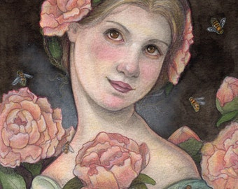 """Queen Bee....Original Art....8""""x10"""" Illustration"""