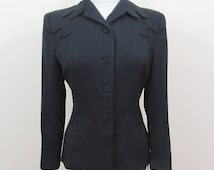 Black Wool Jacket Blazer - 1940s Braunell hourglass shape, large shoulder pads - Sm - Excellent Cond