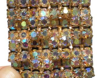 Geometric Rhinestone Brooch with Aurora Borealis on Square Gold Frame - Formal Vintage Jewelry