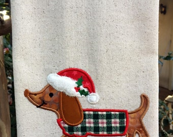 Kitchen Towel - Christmas Dachshund Dapple
