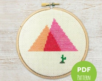 Painted Desert - Minimal Mountains - Modern Geometric Cross Stitch - Embroidery PDF Pattern #001