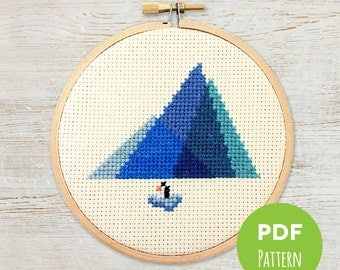 Antarctic Glaciers - Minimal Mountains - Modern Geometric Cross Stitch - Embroidery PDF Pattern #003