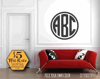 MONOGRAM Wall Decal / circle monogram wall sticker, wall decal monogram, vinyl monogram decal, wall decals nursery, baby decal,nursery decal