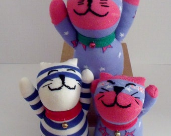 One Lucky Cat Made From Blue Striped or Blue Star Sock With Hand Stitched Face and Collar With Bell Attached  With Plastic Base for Standing