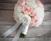 Ivory and Blush Pink Peony Wedding Bouquet - Silk Peony Bridal Bouquet