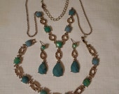 LIZ CLAIBORNE Jewelry Set / Choker Necklace / Lavaliere Pendant / Bracelet / Pierced Earrings / Aqua Rhinestones / Designer / Accessory Lot