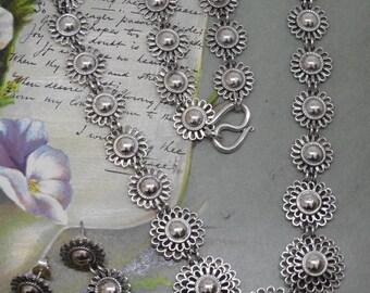 Sterling Silver Flower Design Link Necklace & Earrings Set