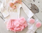 Newborn Baby Girl Coming Home Outfit Set of up to 4 Items, Lace Diaper Cover, Leg Warmers, Personalized Bow Bodysuit. Pink Roses Gold Summer
