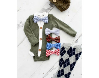 Newborn Baby Boy Coming Home Outfit Set of up to 4 Items. Cardigan Bodysuit, Bow Tie Bodysuit, Leg Warmers & Knit Newsboy Hat.