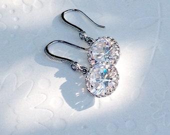 dangle earrings, sparkly dangle earrings, cubic zirconia earrings, Wife Gift, Wedding dangle earrings, silver bridesmaid earrings