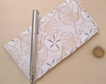 Fabric Checkbook Cover -  Beach Fabric Checkbook Holder -  Seashells -  Sand Dollars -  Starfish -  Summer -  Gift Under 15