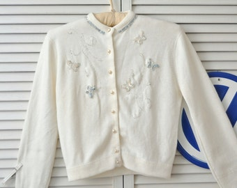 Vintage 50's 60s Button Front Sweater/Girls Teens Women's Small/Sequin & Bead Butterflies/Helen Sue Orlon Acrylic/Sock Hop/Doo Wop Costume