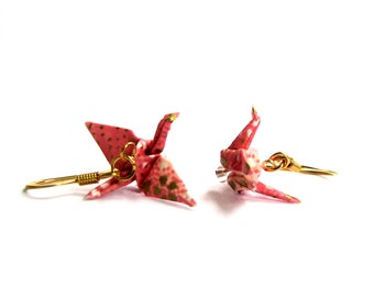 """Tiny Origami Crane Earrings Pink with White and Gold Flecks 3/4"""""""