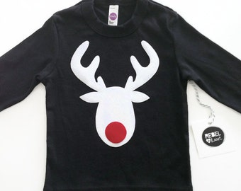 White Deer Red Nose on Black T Shirt Kids Boy Girl Unisex Christmas