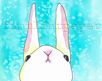 Original 8x10 Watercolor Painting  - Things are Looking Up, Bunny