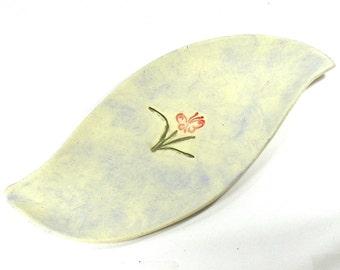 Ceramic Platter / Serving Tray - Butterfly Spring Platter in Lavender, Pink and Green (OOAK Handmade Stoneware Platter Ceramic Serving Dish)