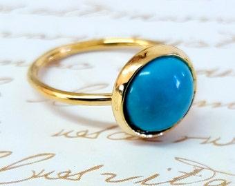 Gold Ring, Turquoise Ring, Gold Turquoise Ring, Stone Ring, Delicate Ring, December Birthstone Ring, Gemstone Ring, Something Blue, FOR HER