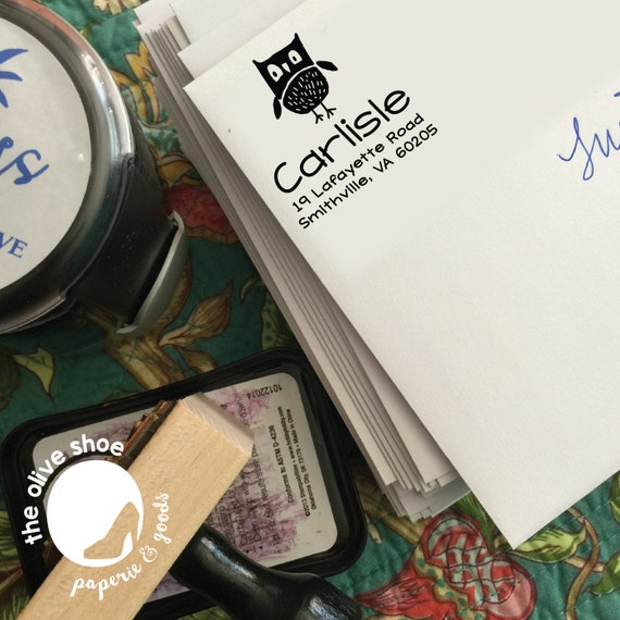 Owl Have You Been Custom Address Stamp | Whimsical | Self - Inking Stamp or Wood Mount Stamp with Handle | Return Address Stamp
