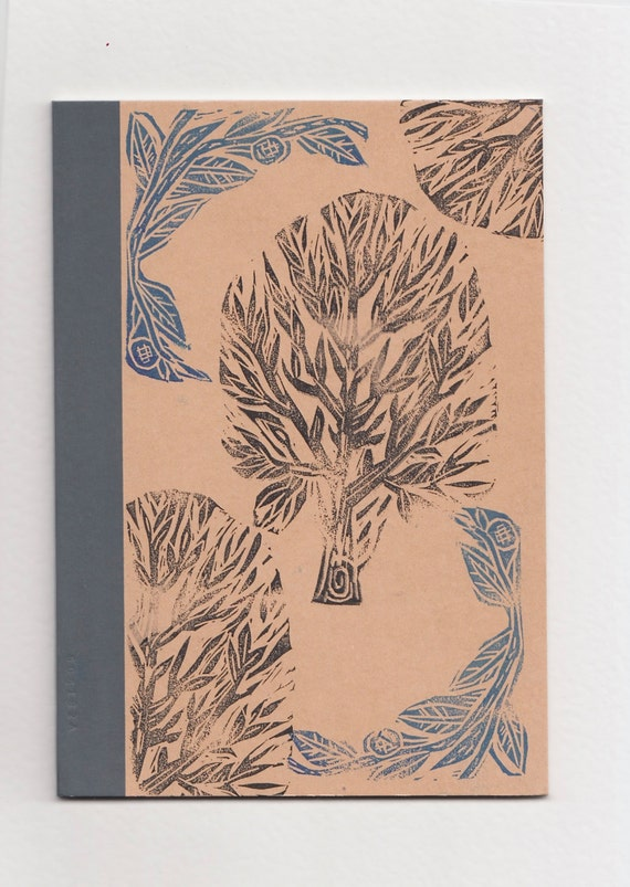 A5 Lined Notebook Tree Lino print Pattern //Vegan Notebook