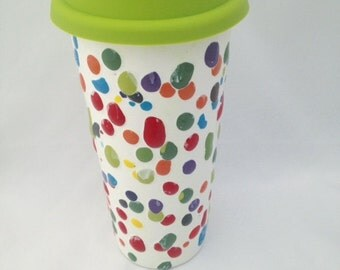 Ceramic Travel Mug with Lid - Coffee Tumbler Pottery - 18 ounces