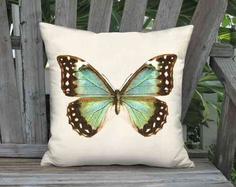 Pillow Cover - Pillow - Vibrant Blue and Green Butterfly - Coastal Decor - 16x 18x 20x 22x 24x 26x Inch Linen Cotton Cushion Cover