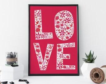 Typography Wall Art - A4 Art Print Love Print Art Print Home Decor Art Gift for Couples - Artwork for Home Decor - 8 x 11 Print