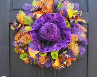 Glitter Mesh Witch Halloween Wreath