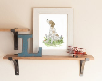 Pointer Art Print, German Shorthaired Pointer Print, Dog Nursery Art, Puppy Nursery Art, Children's Art, Bird Dog Art, Dog Gift, Watercolor