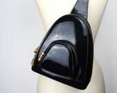 Vintage Gucci Tiny Black One Shoulder Gucci Backpack Purse, Black Patent Leather, Sling Bag, Cross Body, One Shoulder Bag, 1980s 060014
