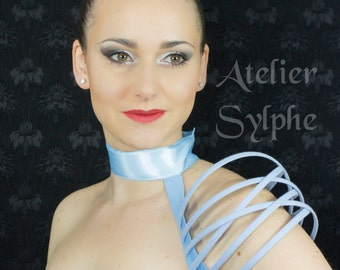 Single asymetrical Blue fantasy shoulder boned crinoline.