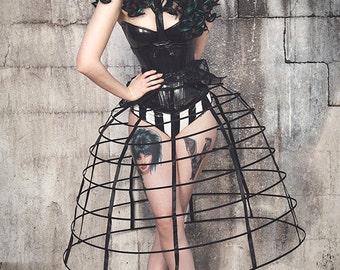 Black color hoop cage skirt long pannier 8 rows plastic boned crinoline