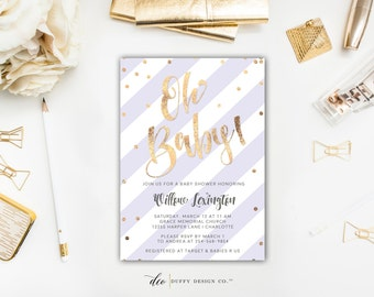 Baby Shower Invitation, Baby Girl Shower Invitation, Gold & Lavender Striped Baby Shower Invite, Purple Baby Shower Invite, Printable 5x7
