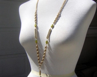Long Heavy Gold Tone Chain Chunky Pendant Vintage 60s Olive Green Moonglow Teardrop & Accents - CLEARANCE