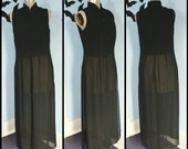 HOLD for everil13 Vintage 90s Womens Long Sheer Chiffon Black Vest Cropped with Frog Closures Goth Romantic Medium Large