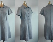 Vintage 1950s 1960s Womens Powder Blue Peter Pan Womens Mini Dress by Cover Girl of Miami Modern XL