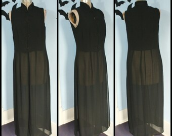 Vintage 90s Womens Long Sheer Chiffon Black Vest Cropped with Frog Closures Goth Romantic Medium Large