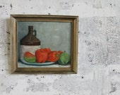 Vintage Jug and Plate of Bell Peppers Painting with Wooden Frame