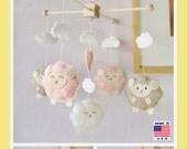 Baby Mobile, Baby Crib Mobile, Sheep Mobile, Nursery Decor, Cot Mobile, Sleepy Sheep Farm, Pink and White Mobile, Custom Mobile
