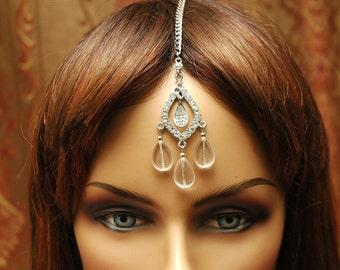 Crystal Bridal Tikka Headpiece, Wedding Headpiece, Tikka Jewelry, chain Headpiece, Gypsy Jewelry, Tribal Jewelry