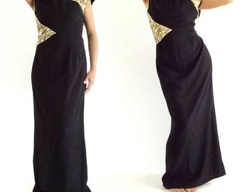 Elegant Valentino Vintage Dress / Winter Black dress long / Evening column dress / New Years Eve Party Dress / 90's Valentino formal dress