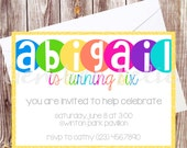 FREE DOMESTIC SHIPPING | Bright Bubble | Birthday Invitation | Girl | 4x6 | 5x5 | 5x7 | 5.25x8 | Printed | Envelopes | Digital File
